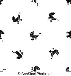 Baby carriage pattern seamless black
