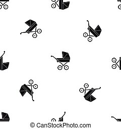 Baby carriage pattern seamless black - Baby carriage pattern...