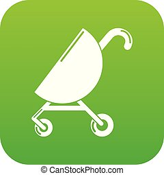 Baby carriage pink icon green vector