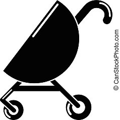 Baby carriage pink icon, simple black style