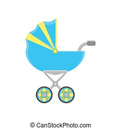 Baby carriage pram icon vector stroller silhouette isolated illustration isolated flat