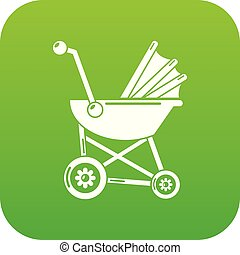 Baby carriage retro icon green vector