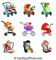 Baby carriage set. Different types of children transport...