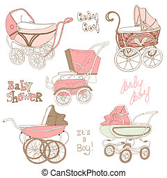 Baby Carriage Set - for your design and scrapbook in vector
