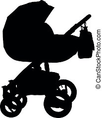 Baby carriage silhouette. Isolated stroller. Vector
