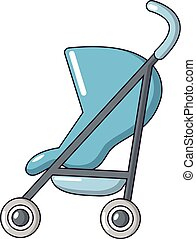 Baby carriage simple icon, cartoon style