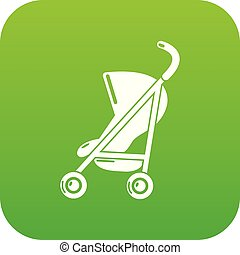 Baby carriage simple icon green vector