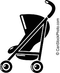 Baby carriage simple icon, simple black style