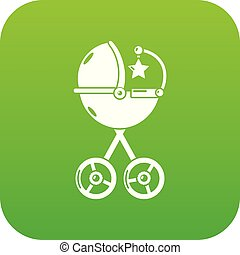 Baby carriage star icon green vector