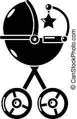 Baby carriage star icon, simple black style