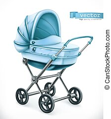 Baby carriage. Stroller 3d vector icon