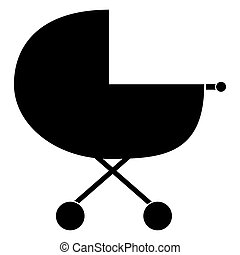 Baby carriage the black color icon .