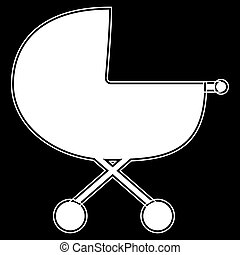 Baby carriage  the white color icon .