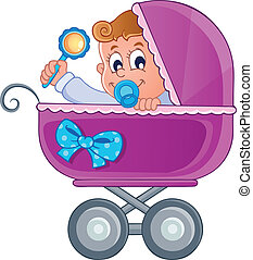 Baby carriage theme image 3 - vector illustration.