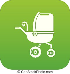 Baby carriage tricycles icon green vector
