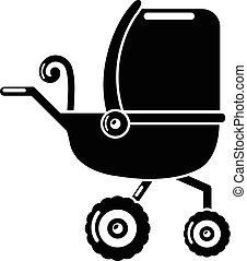 Baby carriage tricycles icon, simple black style