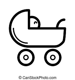 Baby carriage vector icon. Black and white pram illustration. Outline linear newborn icon.