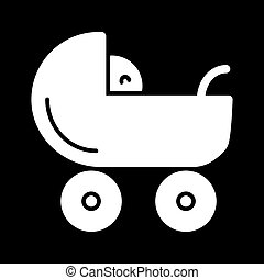 Baby carriage vector icon. Black and white pram illustration. Solid linear newborn icon.
