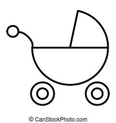 Baby Carriage vector icon isolated on white. Outline flat style.