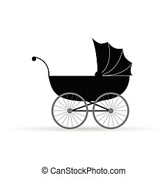 baby carriage vector illustration in black on white