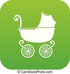 Baby carriage vintage icon green vector
