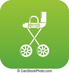 Baby carriage yellow icon green vector
