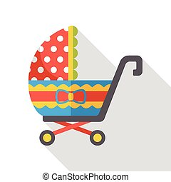 Baby carriages flat icon
