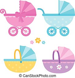 Baby carriages. Vector collection