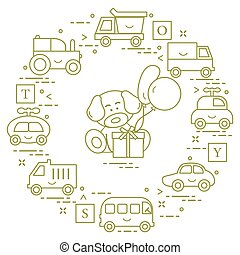 Baby cars, cubes, puppy, gift, balloons.