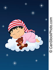 Baby cartoon sleeping on the cloud - Vector illustration of...