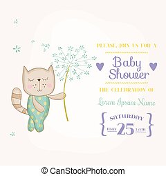 Baby Cat Holding Flower - Baby Shower or Arrival Card - in vector