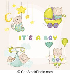 Baby Cat Set - for Baby Shower or Baby Arrival Cards - in vector