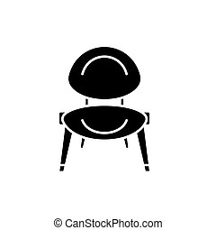 Baby chair black icon, vector sign on isolated background....
