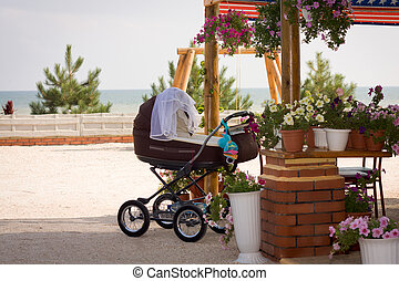 Baby chair, flowers and the sea