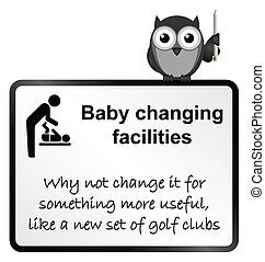 Baby Changing - Monochrome comical baby changing facilities ...