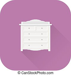 Baby changing table icon. Vector. Flat design with long shadow.