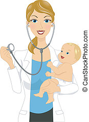 Baby Checkup - Illustration of a Doctor Examining a Baby