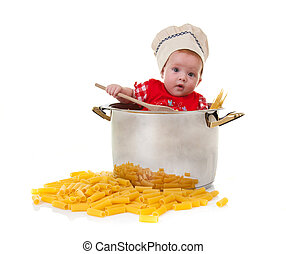 Baby chef in a huge Pot with pasta