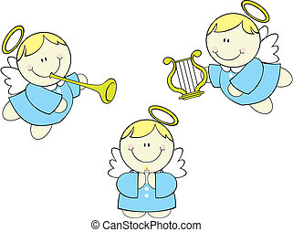 baby cherubs - set of cute baby little angels cherub with...