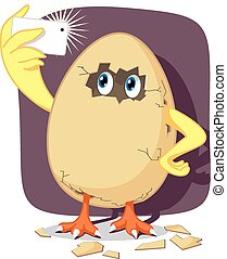 Vector cartoon of funny chicken breaking out of the egg and capturing the moment