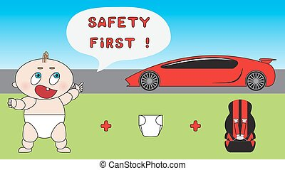 Baby child car safety concept.