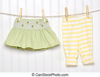 Baby Child Clothing on a Clothesline.