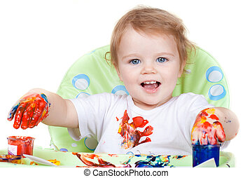 baby child creates art picture with paints as artist (#3 from series)