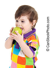 Baby child eating an apple