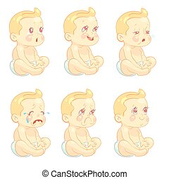 Baby, child emotions vector set