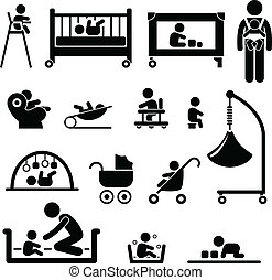 Baby Child Newborn Kid Equipment - A set of people stick...