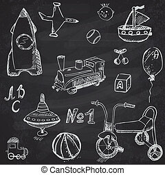 Baby, child toys set hand drawn sketch, on chalkboard background