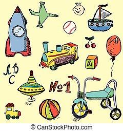 Baby, child toys set hand drawn