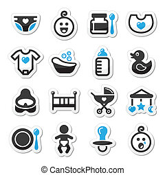 Baby , childhood vector icons set - Black and blue labels...