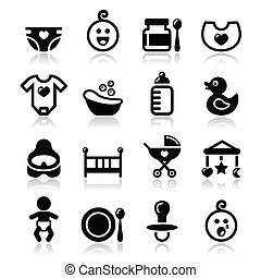 Modern black icons set with reflection - cute baby icons collection